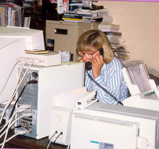 Kathy Norquist, Randy's Assistant, hard at work in the Alcorn's basement in 1997
