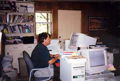 Randy hard at work in his basement