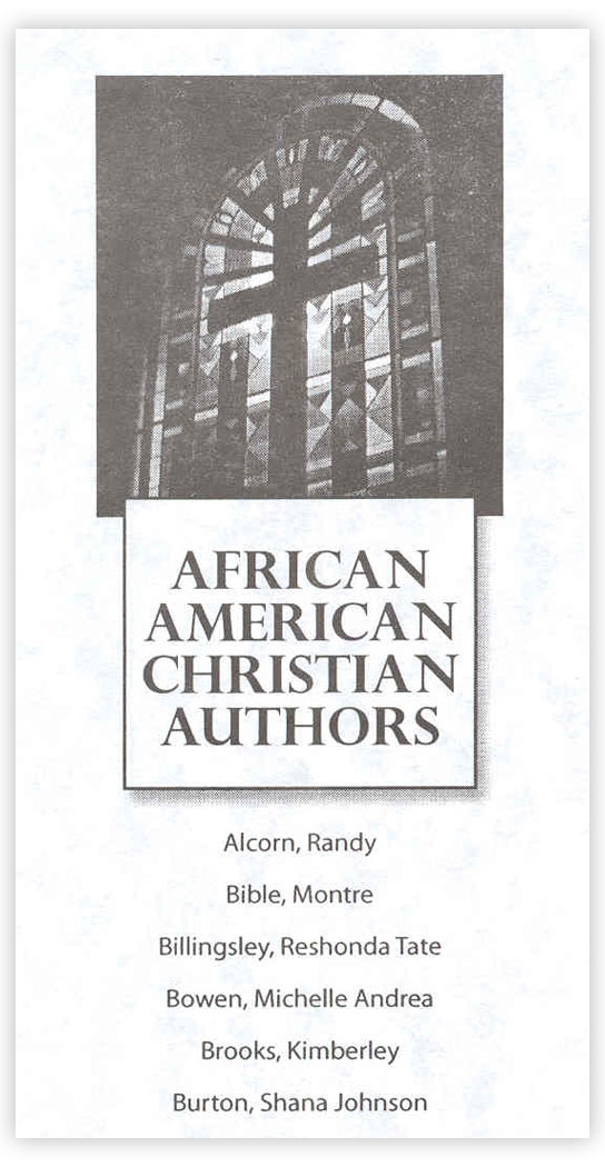 Bookmark featuring African-American Christian authors (Randy Alcorn's name mistakenly included)