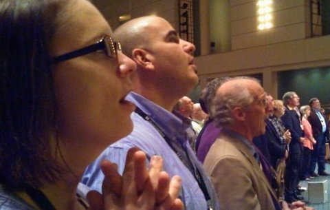 Angie and Dan Stump, and John Piper, at the Desiring God National Conference