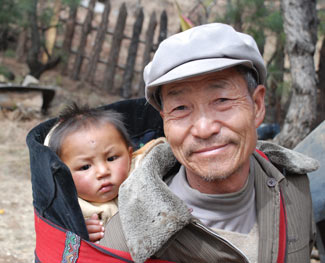 Chinese man and child