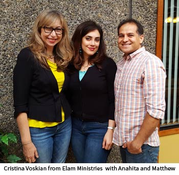 Cristina Voskian from Elam Ministries  with Anahita and Matthew