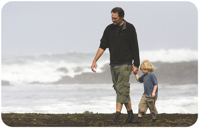 Father and son on the beach | photo credit: Thomas Hawk via photopin cc (rounded corners added)