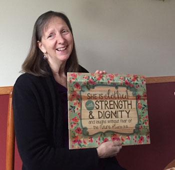 Karen with her verse sign