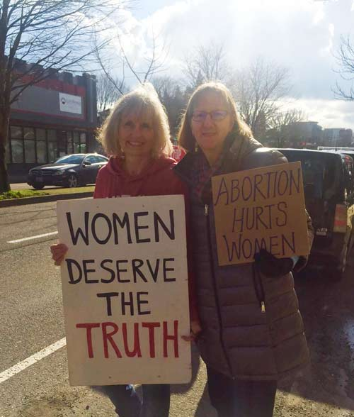 Kathy and Karen at the Defund Planned Parenthood rally