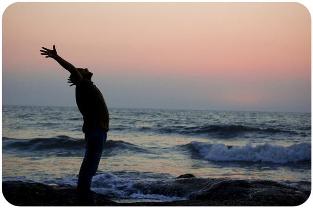 Man at the Ocean / His Strength and Grace in Weakness / photo credit: slalit via photopin cc