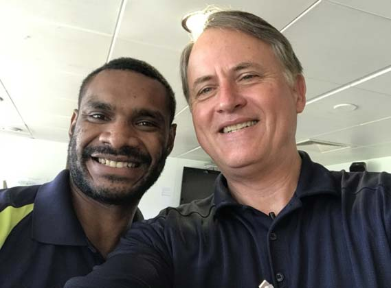 Randy with a crew member from Papua, New Guinea