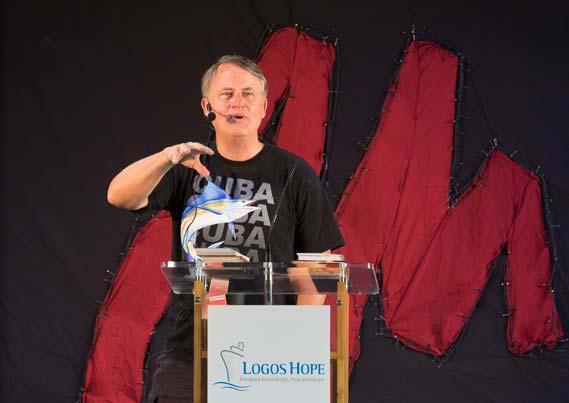 Randy speaking on the Logos Hope
