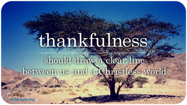 Thankfulness in a culture of entitlement / tree in desert