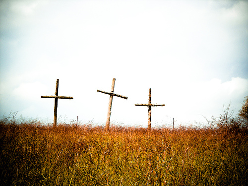 Three Crosses in a Field